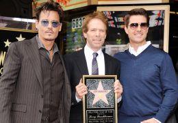 Johnny Depp mit Jerry Bruckheimer und Tom Cruise