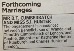 Verlobungsanzeige in 'The Times'
