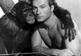 Cheetah mit Johnny Weissmüller (als Tarzan)
