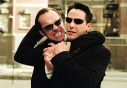 Matrix Reloaded - Hugo Weaving und Keanu Reeves